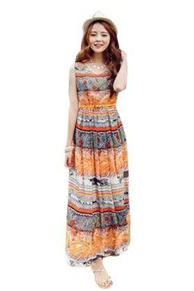 Printed Floor Length Dress - Mauve Collection