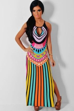 Multicolor Keyhole Detail Maxi Print Dress - Enigma - 257762