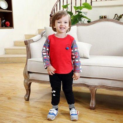 Cute Long Sleeves Printed T-shirt And Pant - 2 Pcs Set - Red - Dapper Dudes