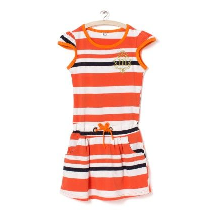 Orange And White Stripes Dress - Party Princess