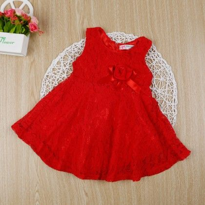 Red Classy Floral Lace Dress - Gianna