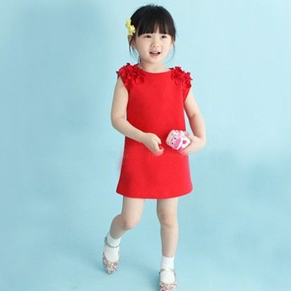 Red Sleeveless Lace Princess Casual Dress - Tulip