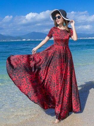Printed Satin Maxi Dress - Mauve Collection