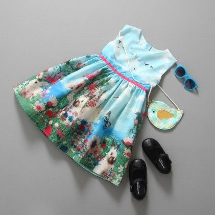Blue Summer Flower Print Princess Dress - Tulip