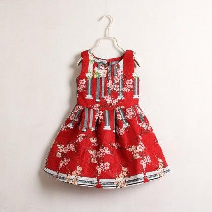 Red Printed Pleated Ball Dress - Mauve Collection