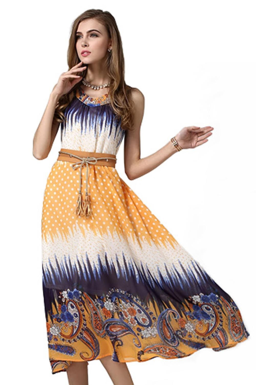 Elegant Printed Dress - Mauve Collection