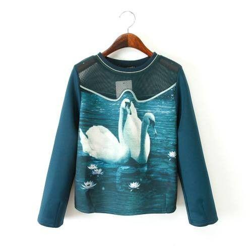 Swan Printing Sweatshirt  Green - Mauve Collection