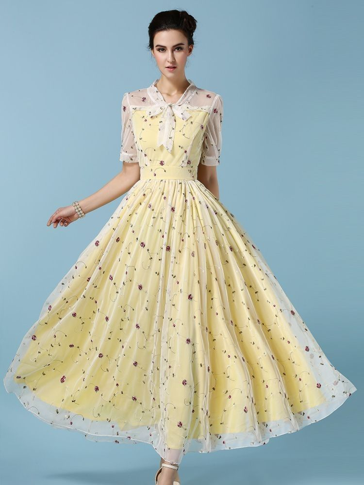 Yellow Spring Printed Dress - Mauve Collection