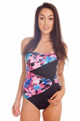 Blue & Pink One Piece Overlay Bathing Suit - Dippin Daisy