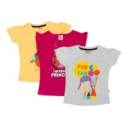 Yellow, Rani Pink & White Cotton Tops - Pack Of 3 - Punkster