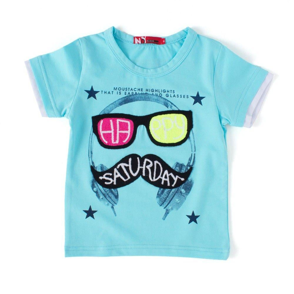 Happy Saturday Turquoise Round Neck T-shirt - NODDY