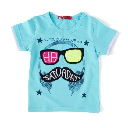 Happy Saturday Turquoise Round Neck T-shirt - NODDY