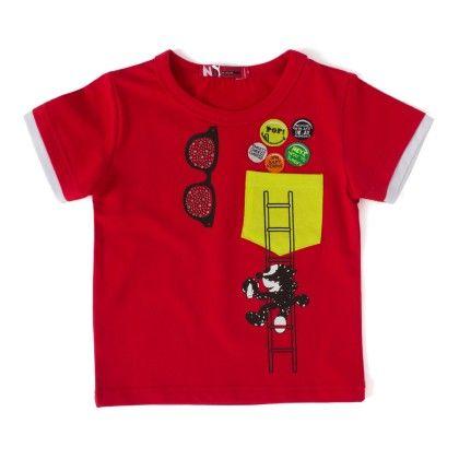 Make Me Smile Red Round-neck T-shirt - NODDY