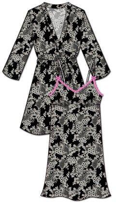Lace Me Up Robe And Chemise Set - Black - Rene Rofe