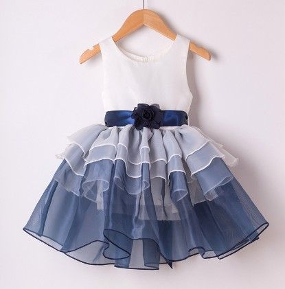 Blue Printed Ball Pleated Style Dress - Mauve Collection