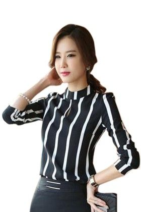 Women Hollow Out Chiffon Stripe Long Sleeve Top - Mauve Collection