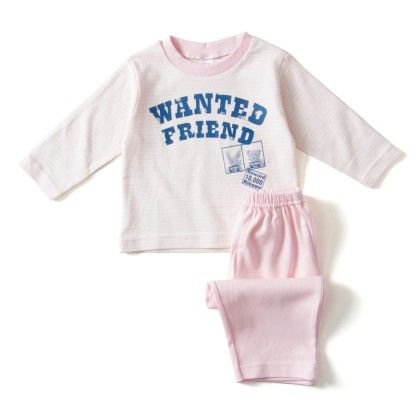 Wanted Friends Pink Print Strips Tshirt And Pants - Pink - ZERO