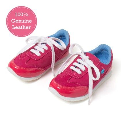 Pink Lace  Tie-up Leather Jogger Shoes - Tuskey Shoes