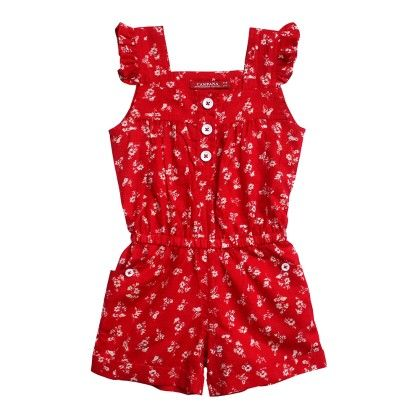 Red Girls Flutter Sleeve Cotton Jumpsuit - Campana