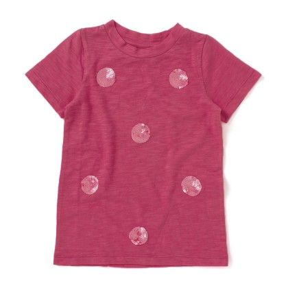 Pink Polka Dot Sequin Cotton T-shirt - SBUYS
