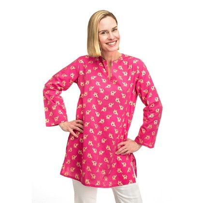 Gold Elephant On Hot Pink Tunic-women - Top It Off