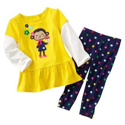 Cute Yellow Cartoon Print Top & Polka Dot Bottom - 2 Pcs Set - Jumping Baby