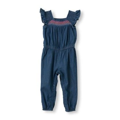Toddler Girls Short Ruffle Sleeve Smocked Chambray Jumpsuit - The Children's Place