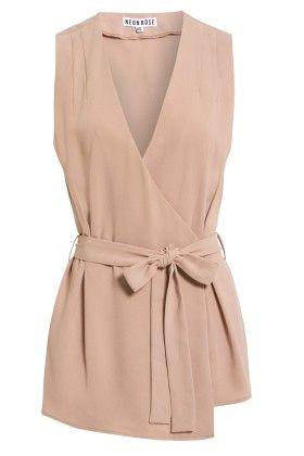 Sleeves Tie Waist Top - Neon Rose