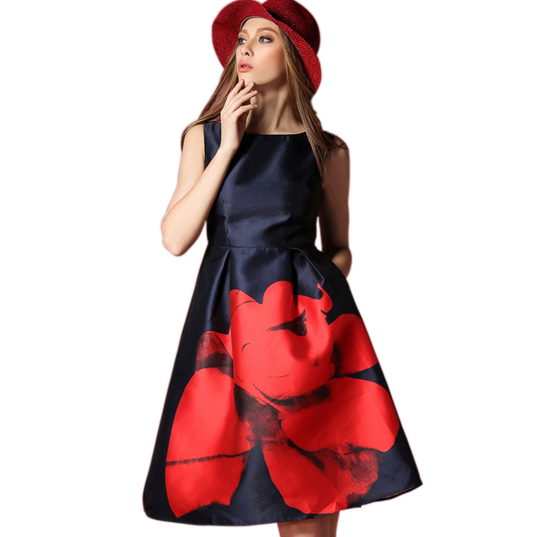 Elegant Sleeveless Floral Print Dress - STUPA FASHION