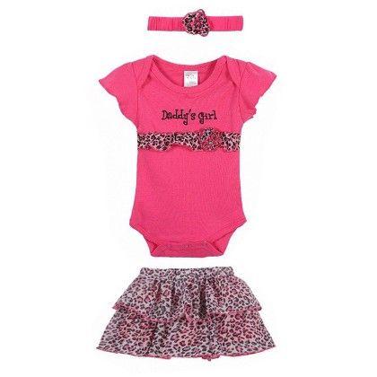 Cute Pink Romper With Leopard Print Tutu Skirt & Headband - 3 Pcs Set - Little Spring