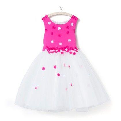 Fuchsia Floral Applique Party Dress - Party Princess