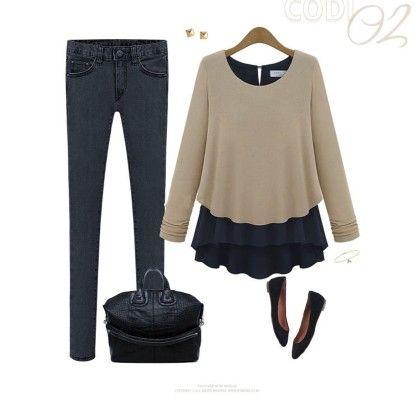 Women's Full Sleeve Body Top Loose Pure Color Chiffon Khaki - STUPA FASHION