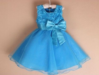 Roses And Bow Party Dress- Blue - Flaunt Chic