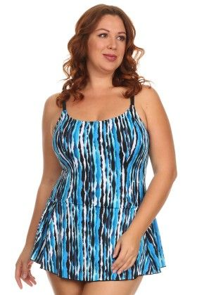 Blue-river Plus Size One Piece Swimdress With Adjustable Straps - Dippin Daisy