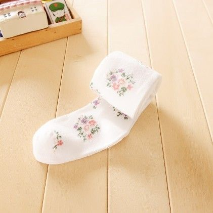 Waist High Stocking, Floral White - Cherry Blossoms