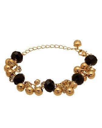 Voylla Black Beaded Gold Tone Bracelet