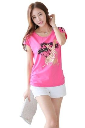 Women's Classy Front Printed Pink Top - Mauve Collection