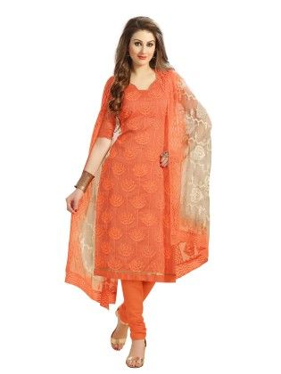 Orange Santoon Silk Dress With Lakhnavi Resham Thread Work - Touch Trends Ethnic