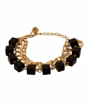 Voylla Black Beaded Gold Toned Bracelet