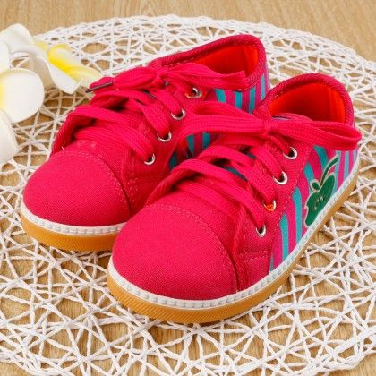 Stripe Canvas Shoes- Rose Pink - Ritzy Step