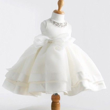 Party Sepcial White Bow Highlighted Dress - Mauve Collection