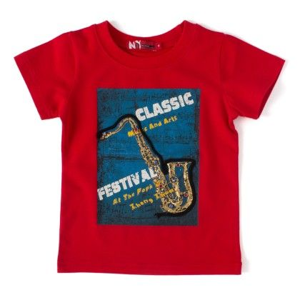 Classic Festival Red Round Neck T-shirt - NODDY