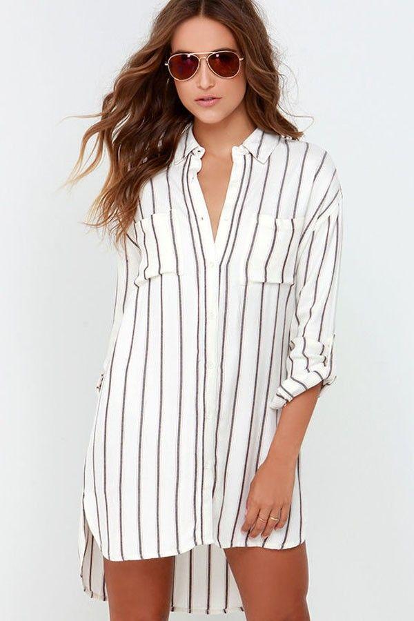 White  Vertical Stripe Print Waist  Shirt Dress - Enigma