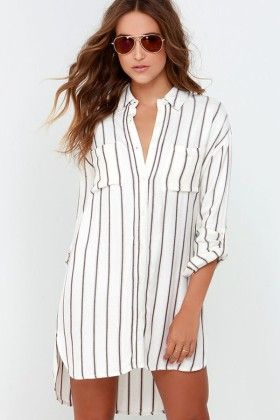 White  Vertical Stripe Print Waist  Shirt Dress - Enigma