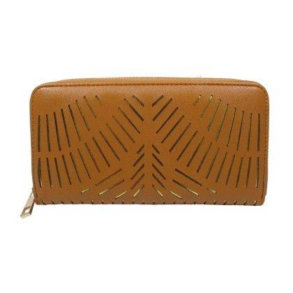 Lazer Cut Front Zip Around Wallet Cognac - YOKI