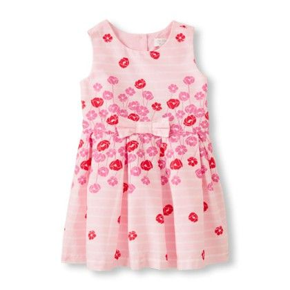 Toddler Girls Sleeveless Flocked Floral Flare Dress With Bow - The Children's Place