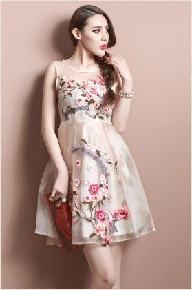 Cute Floral Embroidery Organza Dress Red - Mauve Collection