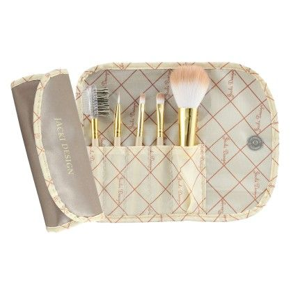Brown Vintage Allure 5 Pc Make Up Brush Set And Bag - Jacki Design