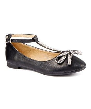 Black T- Strap With Bow & Rhinestone Flat Shoes - Adorababy