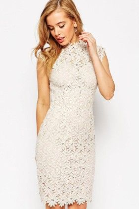 High Neck Lace Dress With Keyhole Back Detail - Enigma